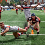 Matty Russell scores a try against Barrow Raiders, August 2019